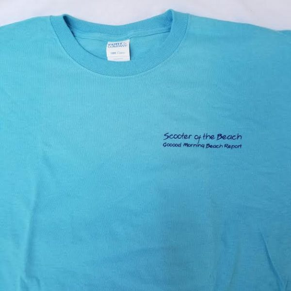 scooter of the beach tshirt blue short sleeves