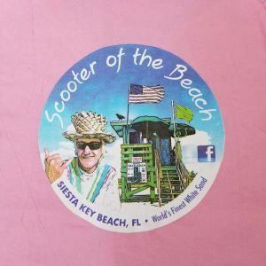 scooter of the beach tshirt pink back short sleeves